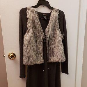 Sweater Dress with Faux Fur Vest